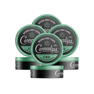 Cannadips CBD - CBD Infused Pouches. THC Free, Tobacco Free, Nicotine Free. Natural Mint Flavour. 4 Pack.